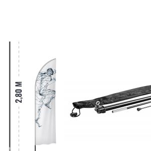 Kit Beach Flag - Mât 2,8 m + Pied en croix Standard + bouée de lestage